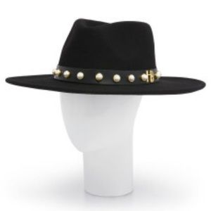 Sale Henri Bendel Black Fedora Hat Black/Wt. Pearl